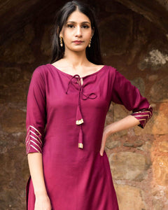 Lemon Tart Women's LTS172 Lace Detail Kurta and Pants Set - Wine