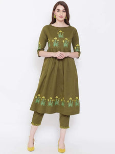 Lemon Tart Women's LTS183 Print Detail Kurta and Pants Set - Green