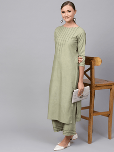 Lemon Tart Women's LTS2 Stitch Detail Kurti and Pants Set - Green