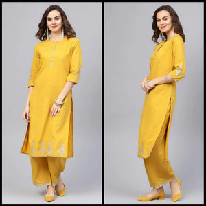 Lemon Tart Women's LTS200 Embroidery Detail Kurti and Pants Set - Yellow