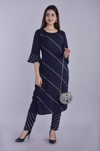 Lemon Tart Women's LTS202 Lace Detail Kurti and Pants Set - Navy Blue