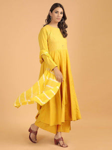 Lemon Tart Women's LTS219 Stitch Detail Kurti and Pants Set - Yellow
