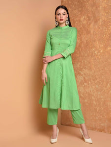 Lemon Tart Women's LTS256 Embroidery Detail Kurti and Pants Set - Green