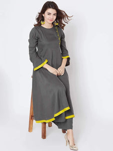 Lemon Tart Women's LTS276 Stitch Peplum Detail Kurti and Pants Set - Grey