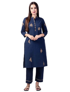 Lemon Tart Women's LTS299 Embroidered Detail Kurti and Pants Set - Blue