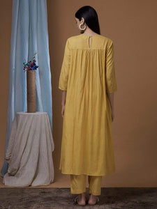 Lemon Tart Women's LTS31 Pleated Kurta and Pants Set - Mustard