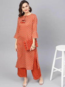 Lemon Tart Women's LTS329 Print and Lace Detail Kurti and Pants Set - Orange
