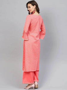 Lemon Tart Women's LTS329 Print and Lace Detail Kurti and Pants Set - Pink