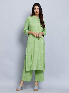 Lemon Tart Women's LTS33 Pintuck Detail Kurta and Pants Set - Green