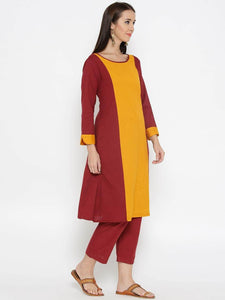 Lemon Tart Women's LTS340 Color Block Stitch Detail Kurti and Pants Set