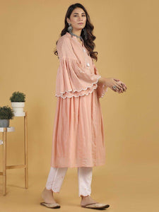 Lemon Tart Women's LTS364 Embroidered Detail Stitched Kurti and Pants Set - Pink