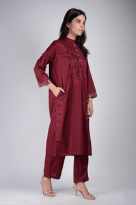 Lemon Tart Women's LTS373 Pintuck and Sequin Detail Stitched Kurti and Pants Set - Maroon