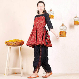 Lemon Tart Women's LTS376 Print Detail Stitched Kurti and Dhoti Pants Set