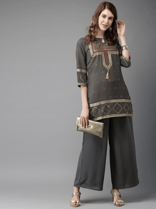 Lemon Tart Women's LTS377 Print Detail Stitched Kurti and Pants Set