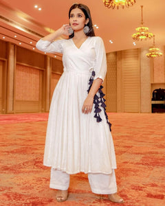 Lemon Tart Women's LTS385 Angrakha Detail Stitched Kurti and Pants Set - White