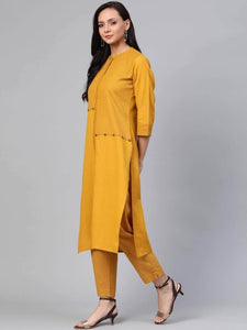 Lemon Tart Women's LTS388 Print Detail Stitched Kurti and Pants Set