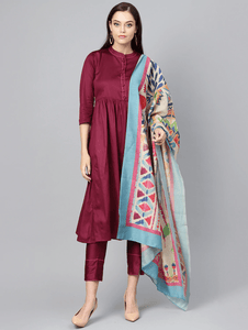 Lemon Tart Women's LTS48 Peplum Detail Kurta and Pants Set - Burgundy