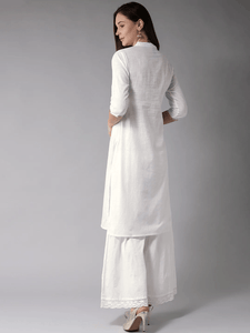 Lemon Tart Women's LTS49 Pintuck Detail Kurta and Pants Set - White
