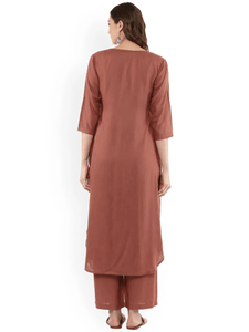 Lemon Tart Women's LTS50 Front Pleat Detail Kurta and Pants Set - Brown