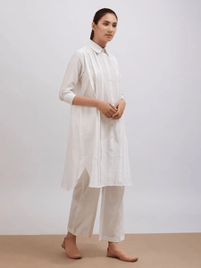 Lemon Tart Women's LTS61 Pintuck Detail Kurta and Pants Set - White