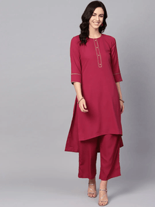Lemon Tart Women's LTS84  Stitch and Lace Detail Kurta and Pants Set - Maroon