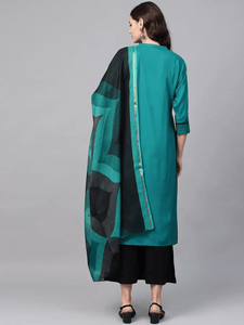 Lemon Tart Women's LTS89 Stitch Detail Kurta and Pants Set - Teal