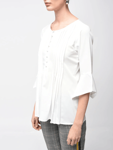 LT Fuse Pleated Detail LTFUB12 Stitched Top - White