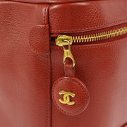 CHANEL CC Cosmetic Vanity Hand Bag Red Caviar Skin Leather VTG AK31743h