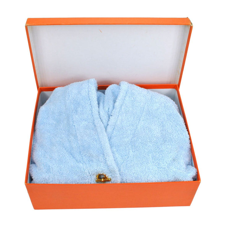HERMES Button Bathrobe Cotton Light Blue #S Vintage France NR06937