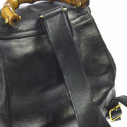 GUCCI Bamboo Line Backpack Hand Bag Black Leather Vintage Italy AK31758b