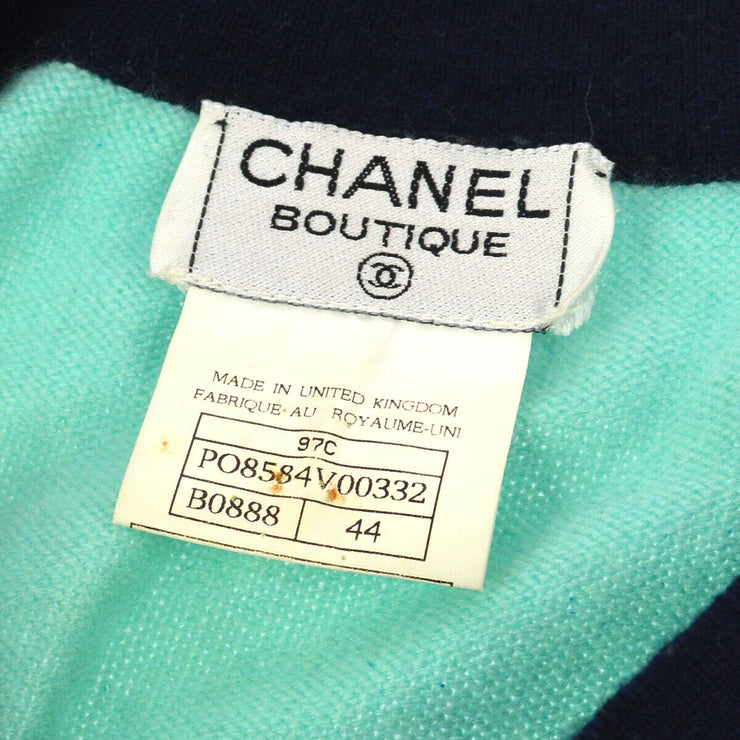 CHANEL Logos Round Neck Long Sleeve Knit Tops Shirt Light Blue #44 97C AK31924e