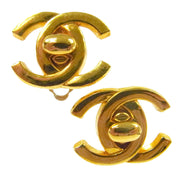 CHANEL Vintage CC Logos Turnlock Earrings 0.8 - 0.7 Clip-On AK35511d