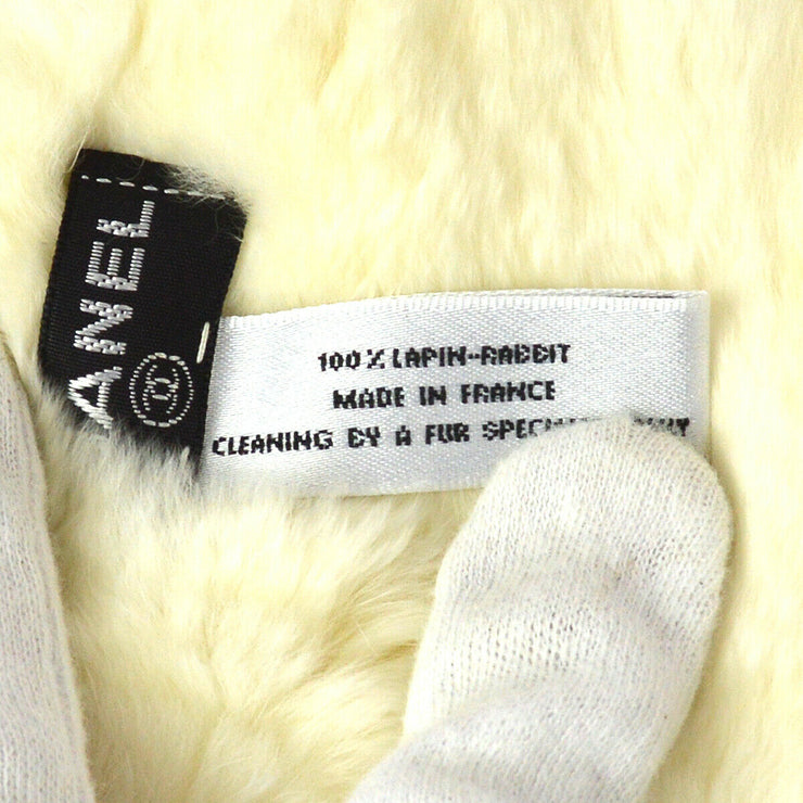 CHANEL CC Logos Lapin Rabbit Fur Bracelet Bangle Wristband White AK17460h