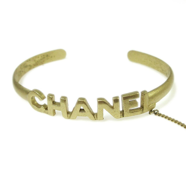 CHANEL CC Logos Rhinestone Bangle Chain Ring #6 Gold-Tone 01C Vintage 03664