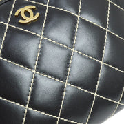 CHANEL Wild-Stitch CC Logos Hand Bag Black Leather Vintage GHW AK38130c