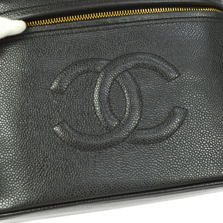 CHANEL CC 2way Cosmetic Hand Bag Vanity Black Caviar Leather VTG A43825i