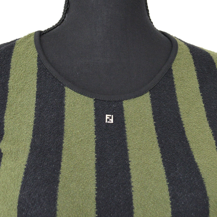 FENDI Vintage Pequin Pattern Short Sleeve Tops Green Black #42 AK36808e