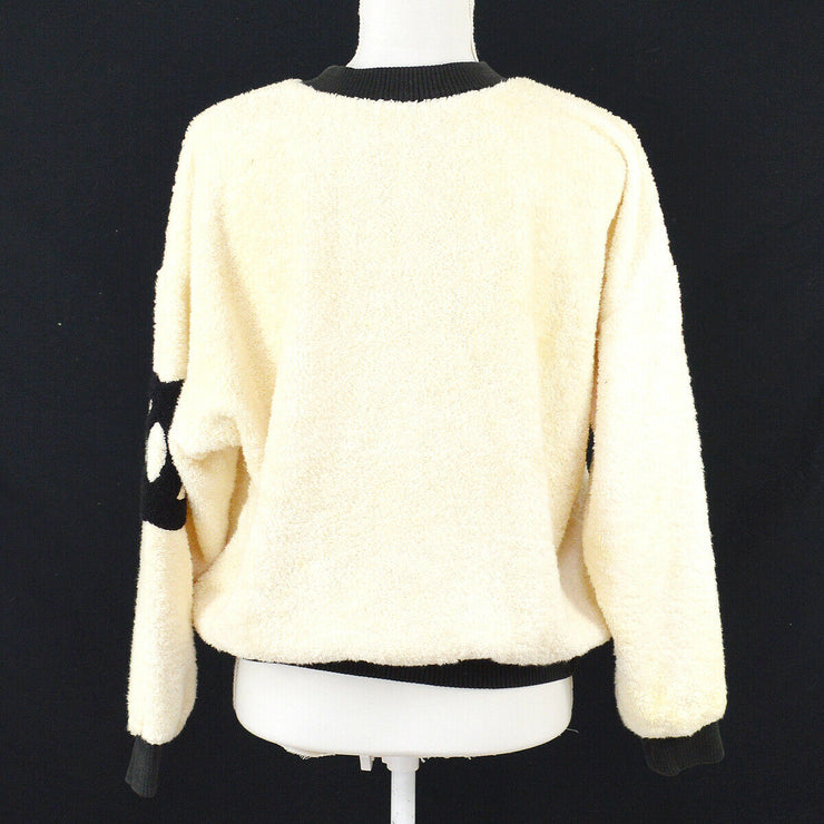 CHANEL Round Neck Side CC Long Sleeve Tops Ivory Black AK38401b