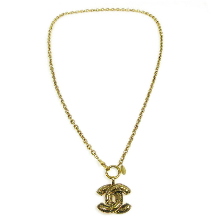 CHANEL CC Logos Charm Gold Chain Pendant Necklace Accessories AK17460e
