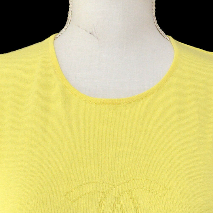 CHANEL Vintage CC Logos Sleeveless Tops Yellow Cotton AK35554i