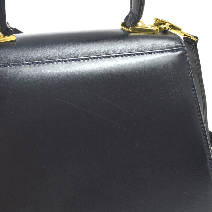 Salvatore Ferragamo Gancini 2way Hand Bag Navy Leather AK34144j