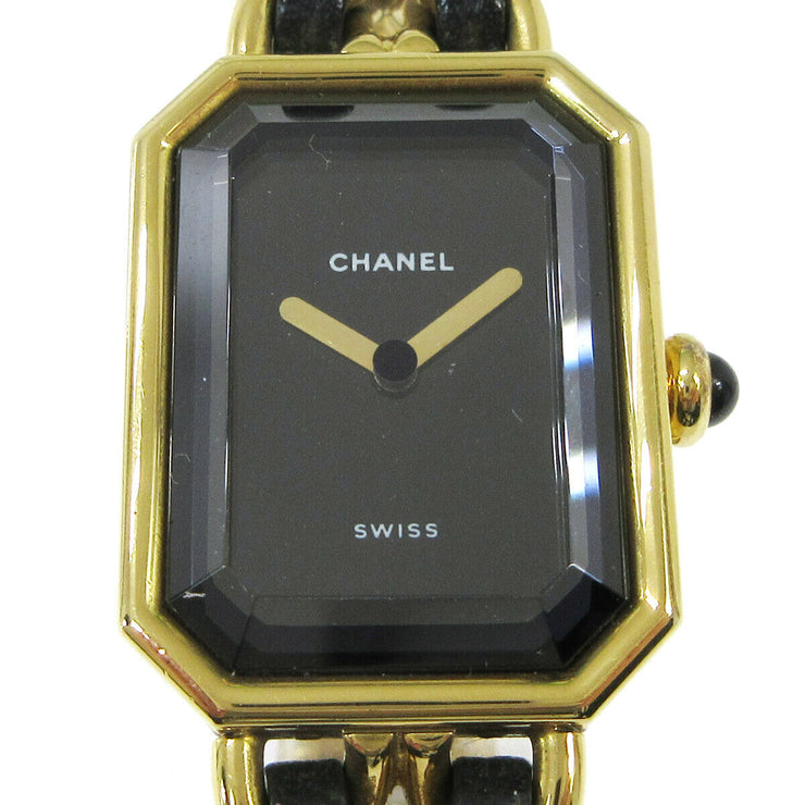 CHANEL Premiere Ladies Wristwatch Quartz Gold Black Leather #M AK34115c