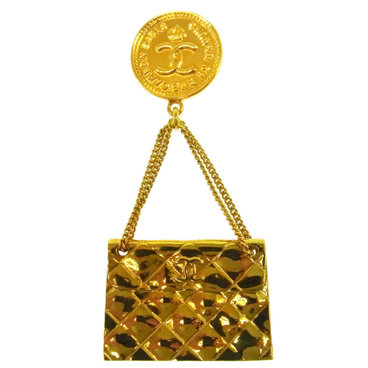 CHANEL Vintage CC Logos Bag Motif Brooch Pin Gold-Tone France AK35513e