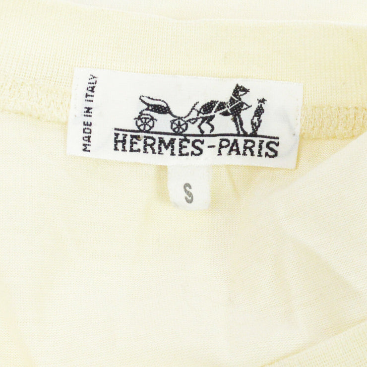 HERMES Vintage Short Sleeve Shirt White 100% Cotton #S A36786d