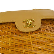 CHANEL Single Chain Shoulder Bag Beige Brown Leather Rattan AK25560b
