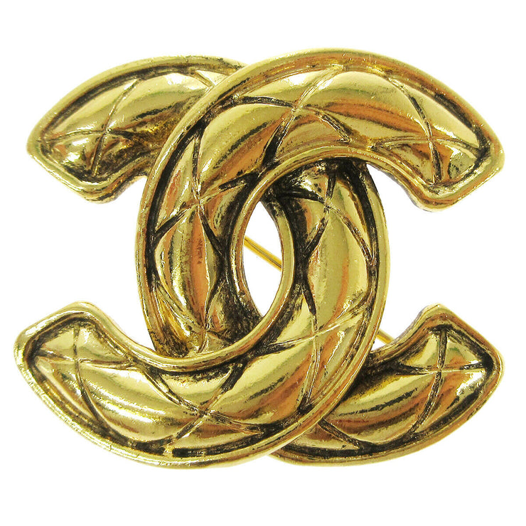 CHANEL CC Logos Quilted Brooch Pin Corsage Gold-Tone Accessories Vintage A46643h