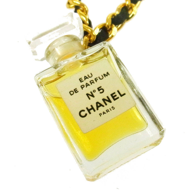 CHANEL Vintage CC Logos Gold Chain Perfume Pendant Necklace AK16933f