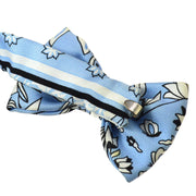 HERMES A Bow Tie Light Blue White 100% Silk Accessories AK33136c