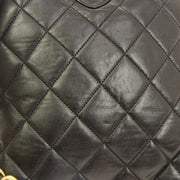 CHANEL Quilted CC Logos Chain Backpack Bag 3716551 Purse Black Leather AK38491b