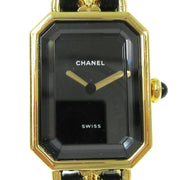 CHANEL Premiere Ladies Wristwatch Quartz Gold Black Leather #M AK31570e